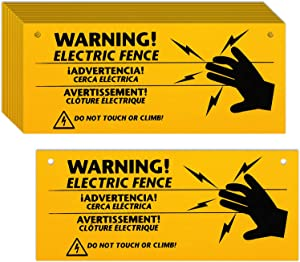 Blulu Electric Fence Warning Signs 10 x 4 Inch Plastic Electric Fence Safe Signs Caution Warning Sign for Danger Electric Fence Sign Farm Home (16)