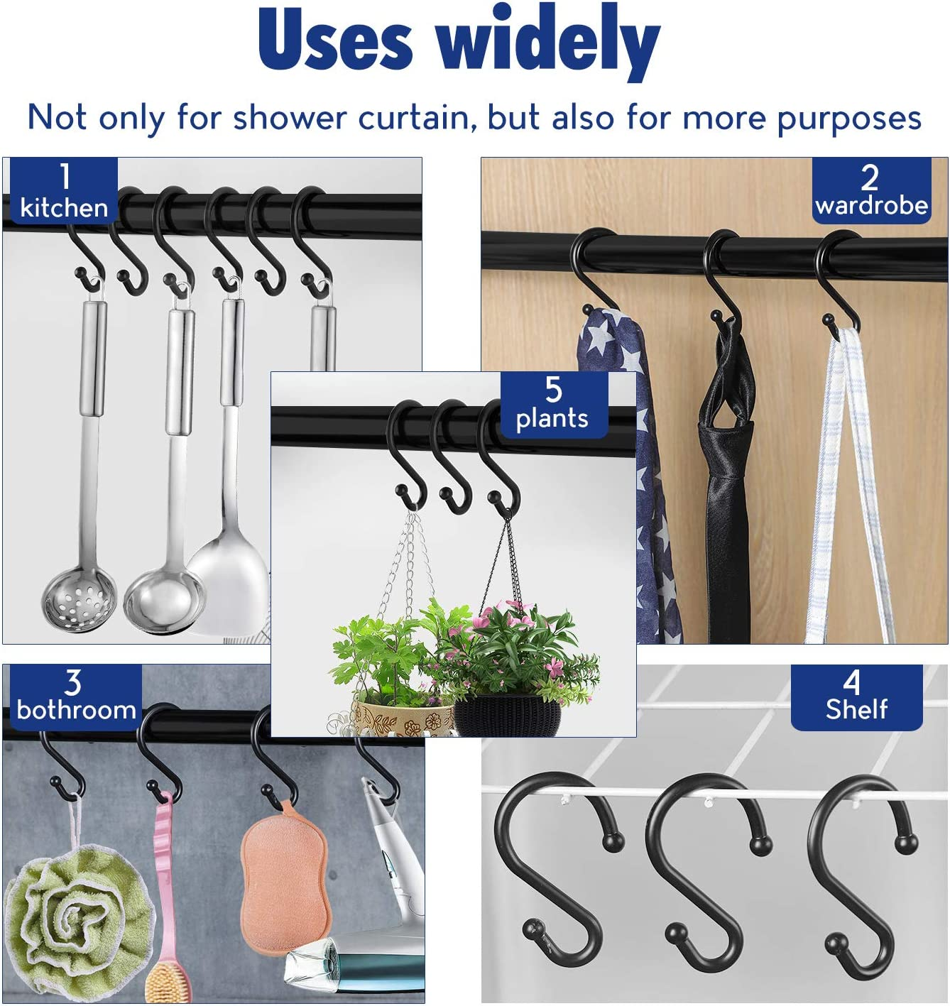 Metal Shower Curtain Hooks,Set of 12 Rings,Rust Resistant S Shaped Hooks Hangers for Shower Curtains, Kitchen Utensils, Clothing, Towels, etc. (Black): Home & Kitchen