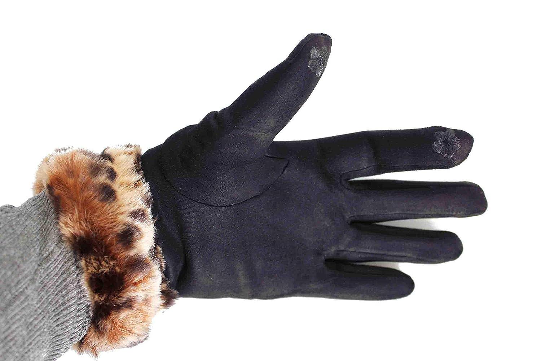 634f73d9a4c2 FERETI Bleu Gants Léopard Panther Fourrure Femme Tactile Hiver Tactiles  Chat Sauvage  Amazon.fr  Vêtements et accessoires
