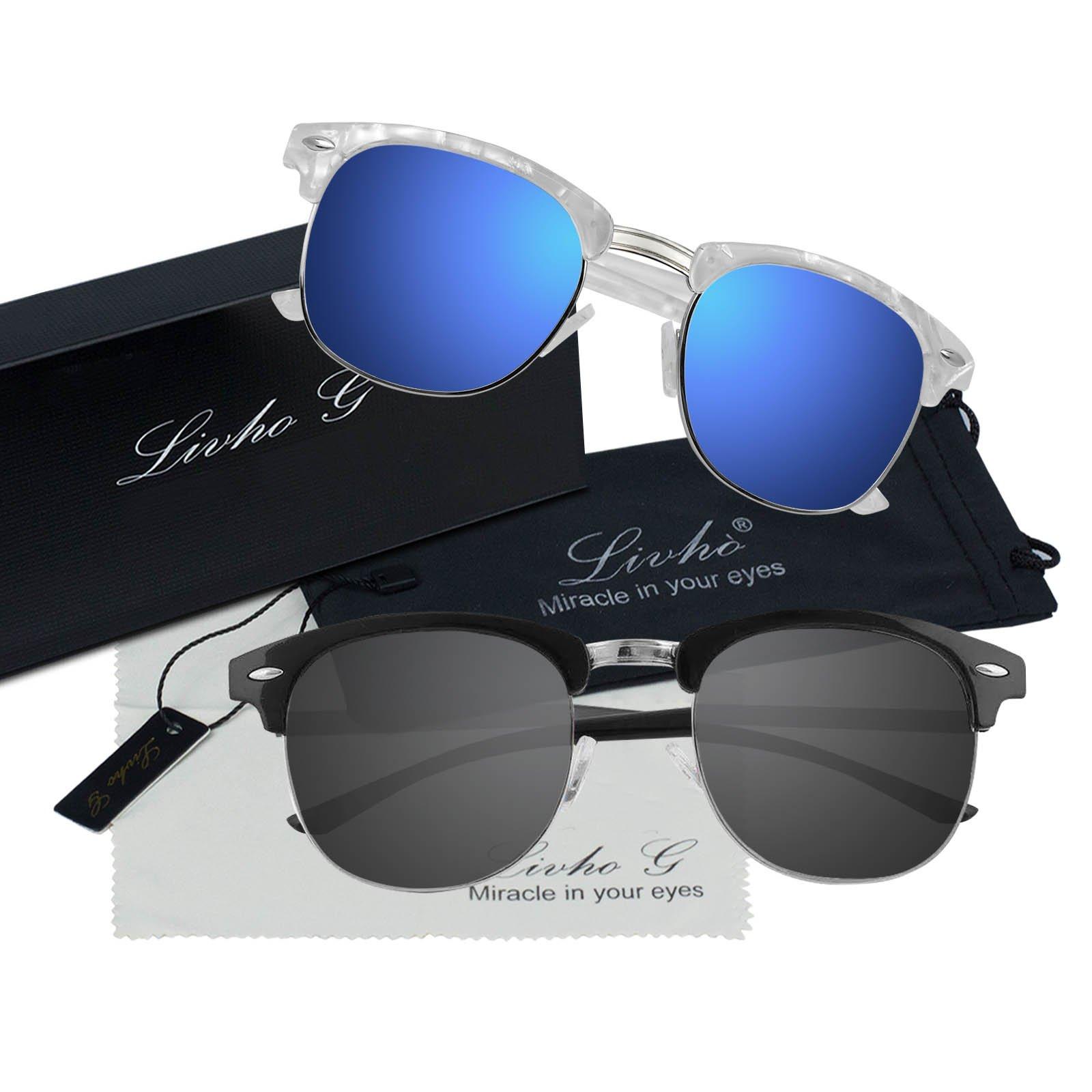 Livhò Polarized Sunglasses Women Men Semi Rimless Frame Retro Sunglasses (White Blue + Black Grey)