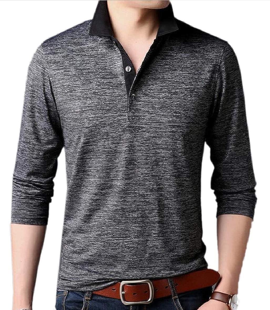RRINSINS Mens Turn Down Collar Business Long Sleeve Shirts Polo T Shirt