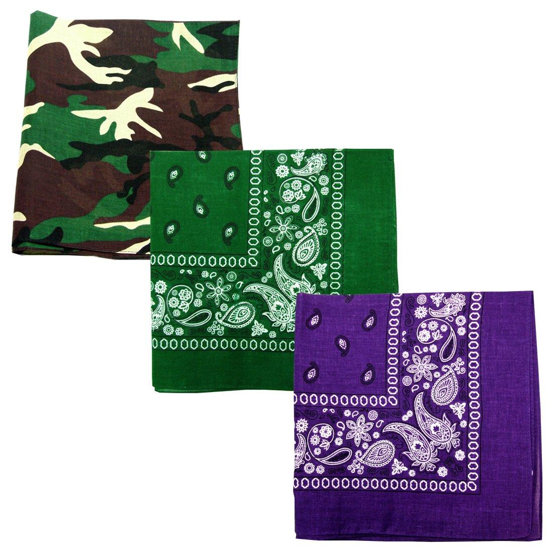 Paisley 3 piece Assorted Cotton Bandanas (Camo / Forest Green / Purple)