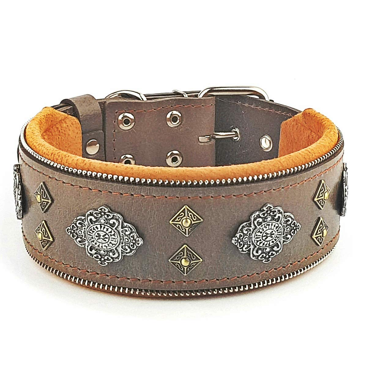 Bestia ''Aztec Grey Genuine Leather Big Dog Collar. Unique Rivet Design. Soft Padded