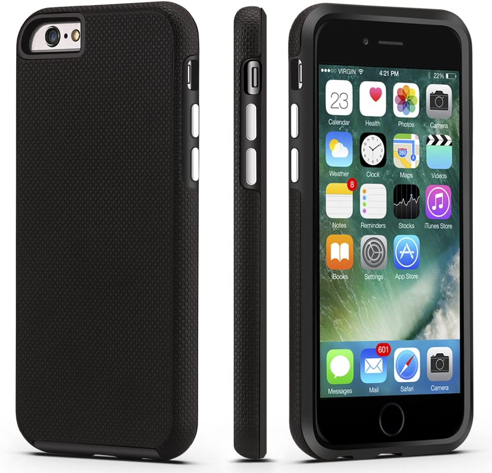CellEver iPhone 6 / 6s Case, Dual Guard Protective Shock-Absorbing Scratch-Resistant Rugged Drop Protection Cover for Apple iPhone 6 / 6S (Black)