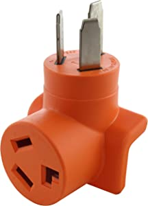 AC WORKS [AD10501030] 10-50P 50-Amp 3-Prong Old Style Dryer/Range Plug to 10-30R 3-Prong Dryer Outlet