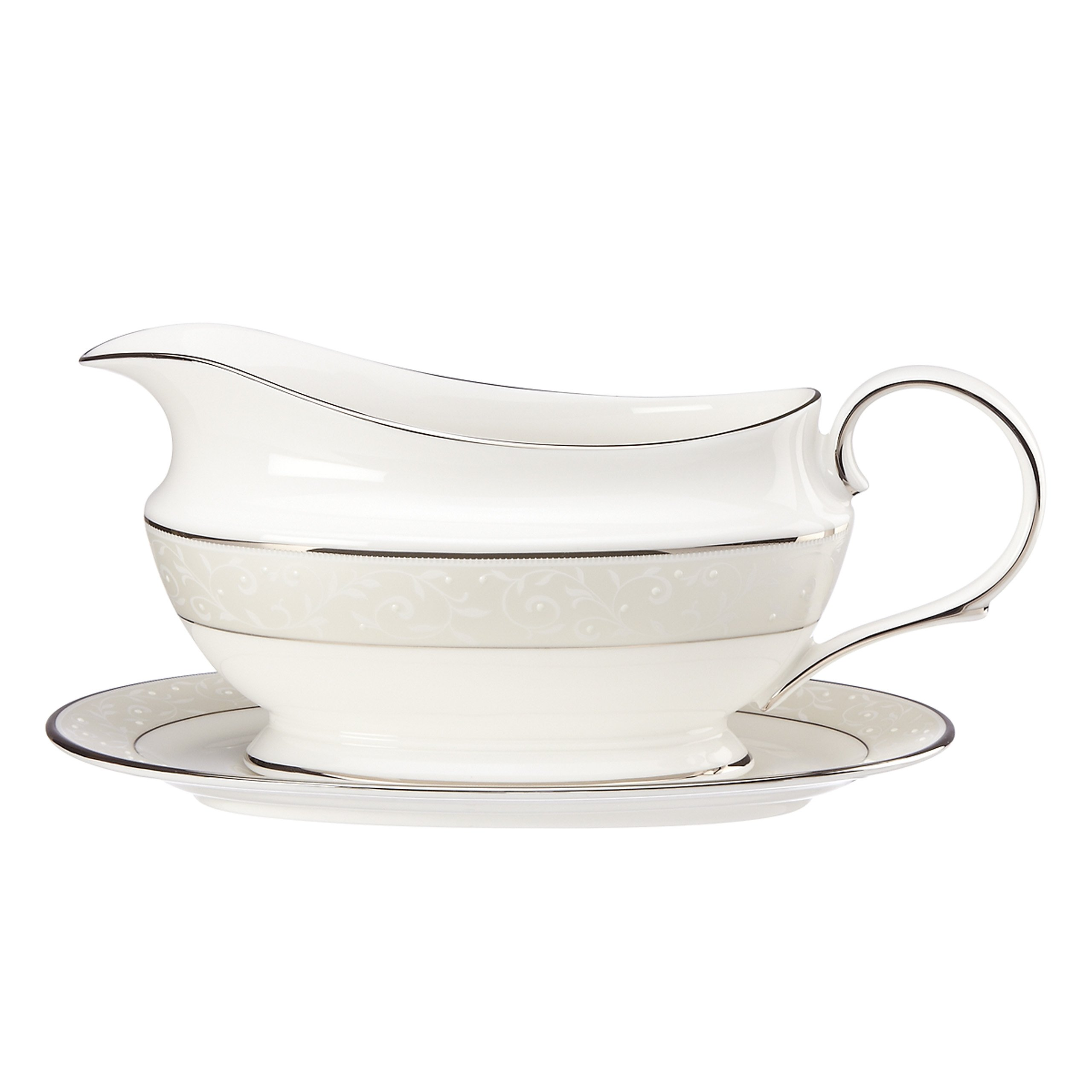 Lenox Opal Innocence Sauce Boat and Stand, White by Lenox