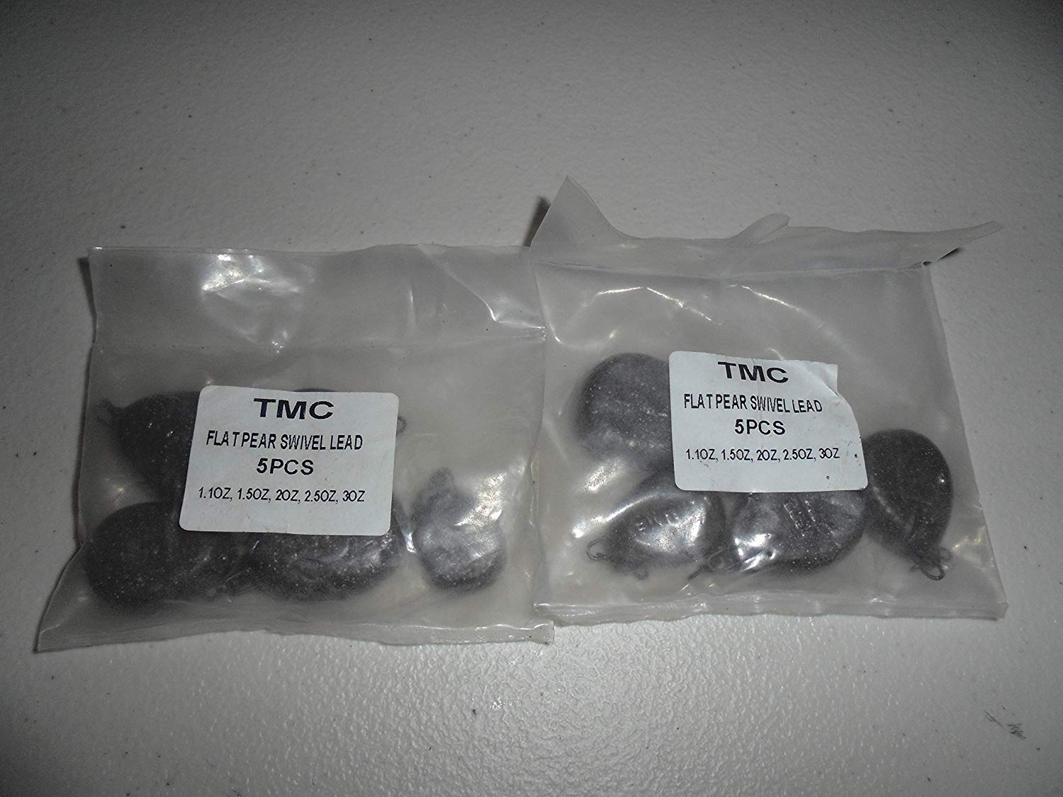Pack of 10 x Flat Pear Inline lead weights 3oz Sizes 1.1oz Carp