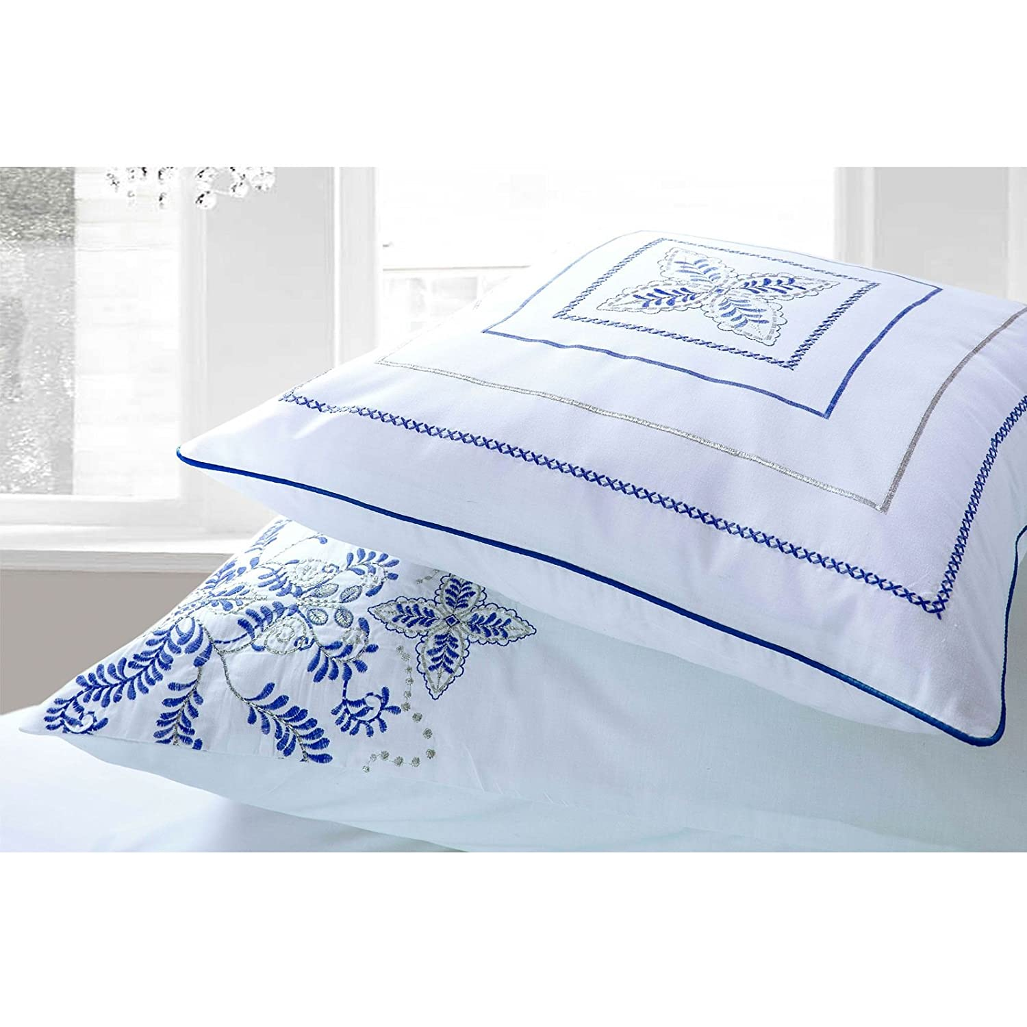 Antalia Luxury Boutique Embroidered Embroidery Blue Pink Duvet Cover Bedding Set