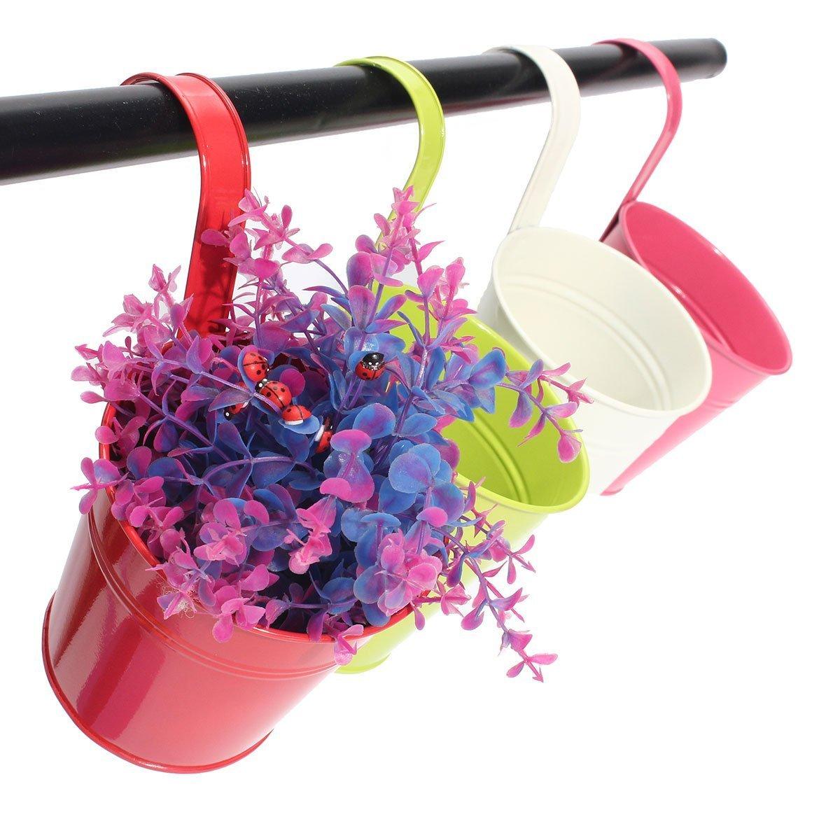 KINGLAKE Flower Pots,10 Pcs Metal Iron Hanging Flower Plant Pots Balcony Garden Plant Planter Baskets Fence Bucket Pots Flower Holders with Detachable Hook by KINGLAKE