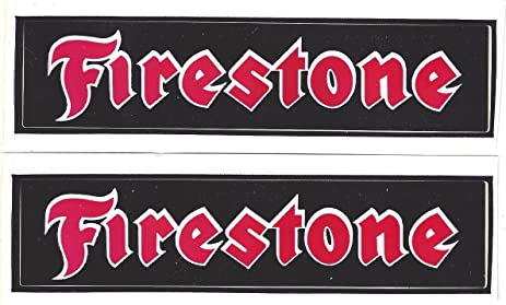 Firestone racing decals stickers 5 3 8 inches long size vintage set of 2