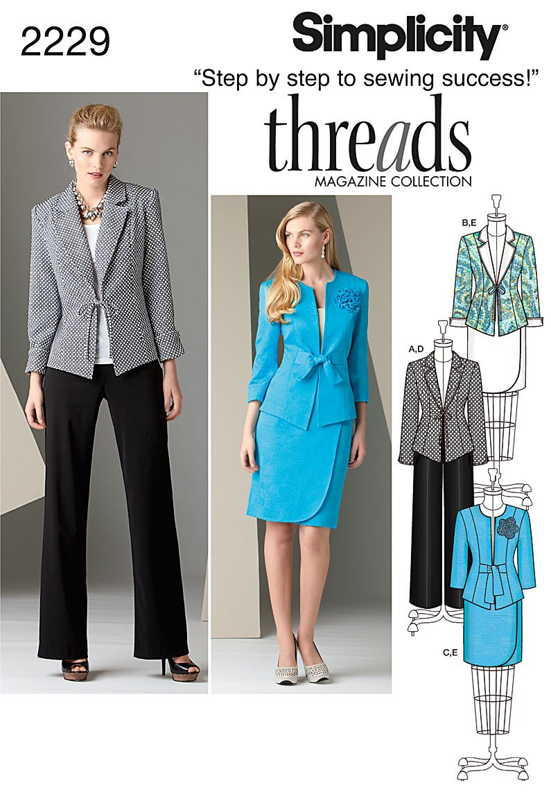 Amazon.com: Simplicity Threads Magazine Pattern 2229 Misses Jacket, Pants  and Skirt Sizes 16-18-20-22-24: Arts, Crafts & Sewing