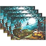 Naanle Halloween Placemat Set of 6, Witch Castle Moon Pumpkin Heat-resistant Washable Table Place Mats for Kitchen Dining Table Decoration
