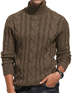 """T165 SWEATER~//MENS~POLO-NECK~TWIST-CABLE~ SIZE 36-44/""""~CHUNKY~KNITTING PATTERN~"""
