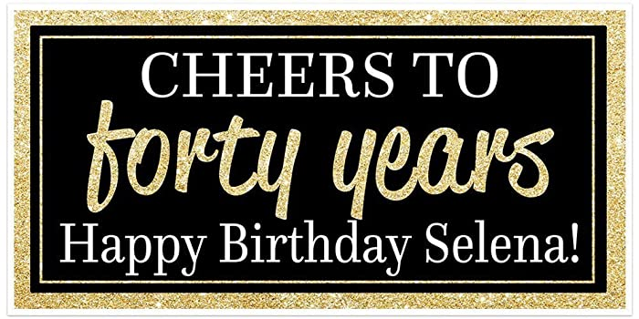 Super Amazon.com: Custom Chic 40th Birthday Banner - Black and Gold  TF06