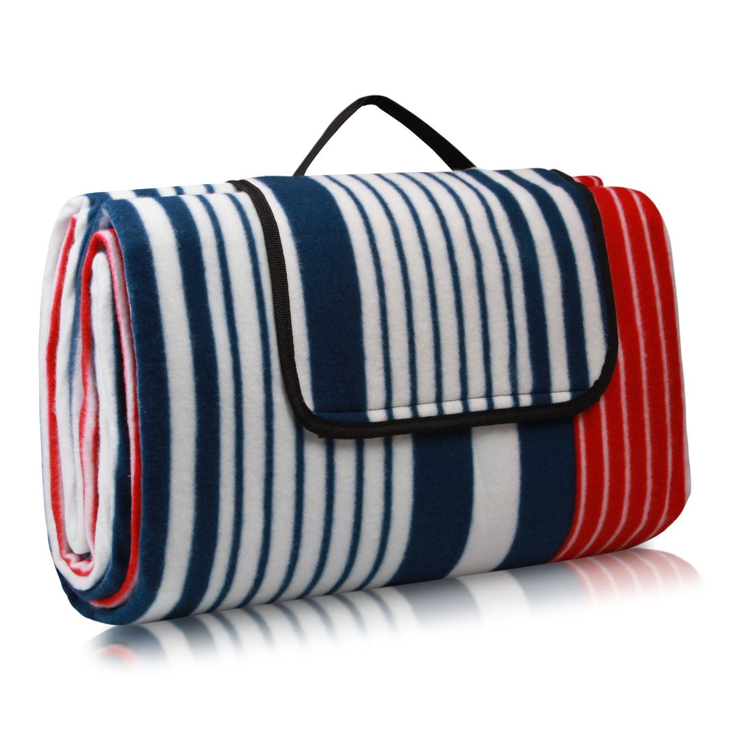 200 x 200 cm Foldable Beach Mat Picnic Blanket Waterproof Sandproof Outdoor Picnic Rug Mat with Handle for camping,family day out, travel-Blue LonproUK
