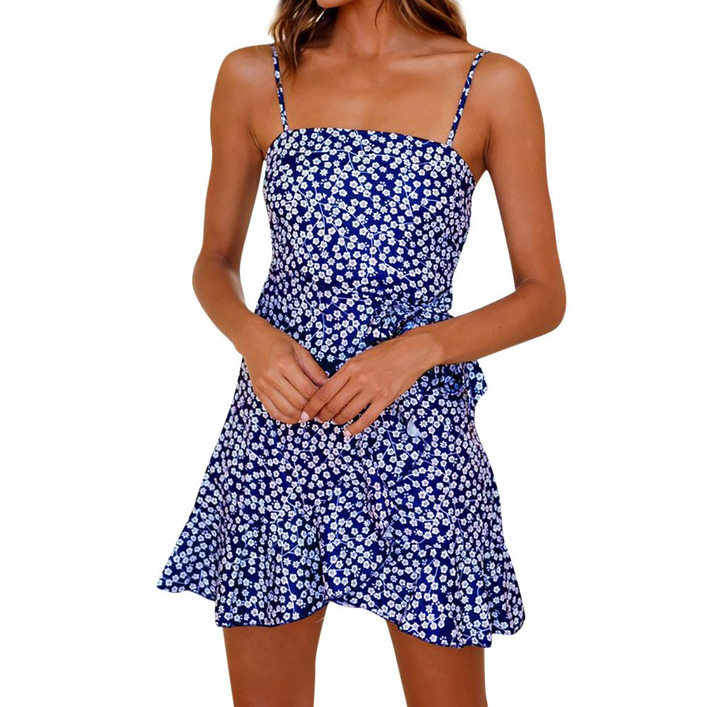 Womens Boho Floral Print Sleeveless Sling Mini Dress Casual Ruffles Bowknot Cocktail Party Dresses Beach Sundress Blue