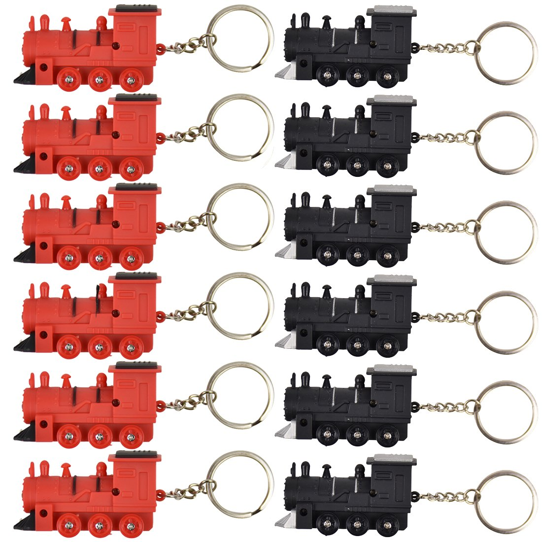 Train with Flashing Lights Backpack Keychain - Set of 12 - Black & Red
