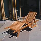 Wooden Garden Recliner Jati Teak Steamer Chair Folding Steamer Sun Lounger Brand Quality /& Value