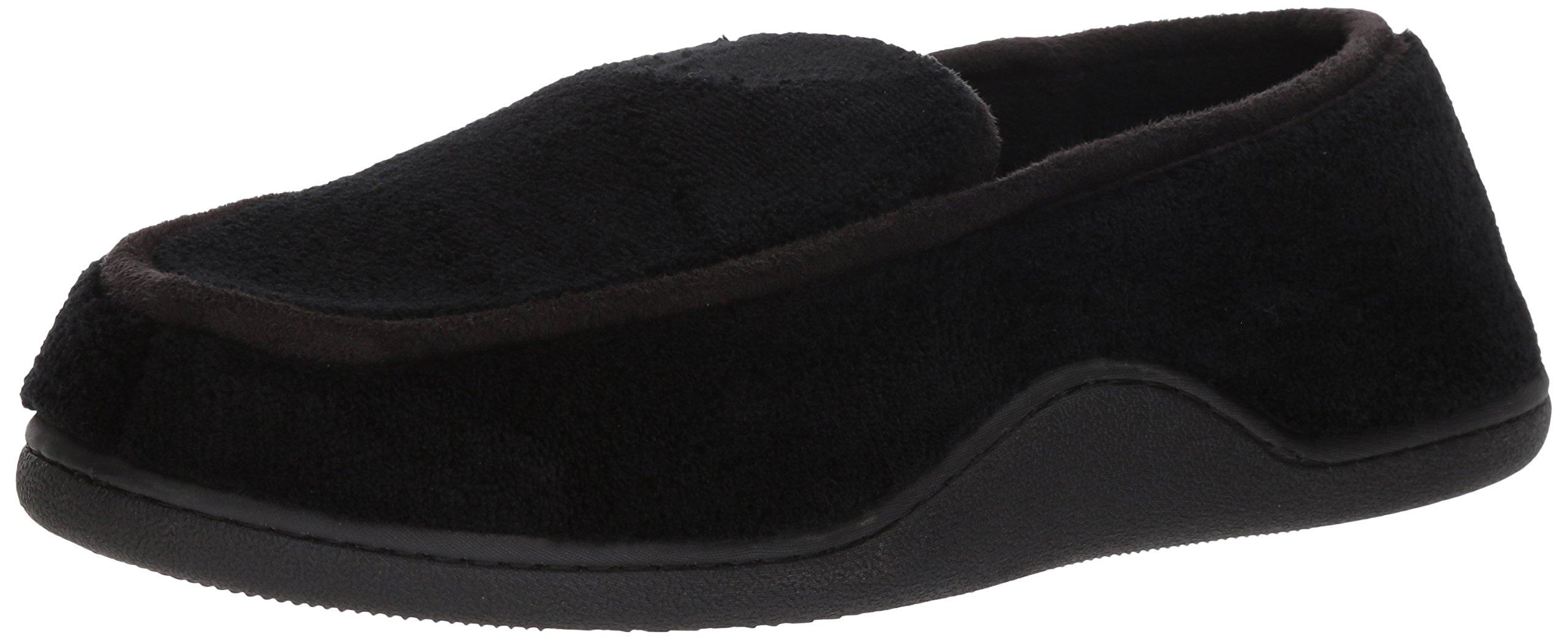 ISOTONER Men's Terry Moccasin Slipper Memory Foam Indoor/Outdoor Comfort, Black, XL