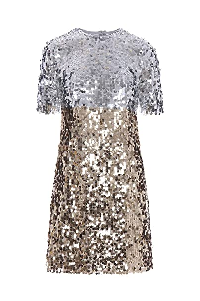 Dolce E Gabbana Vestito Donna F63K7TFLSA8S0998 Paillettes Argento Oro   Amazon.it  Abbigliamento 6a4b2e2dee7