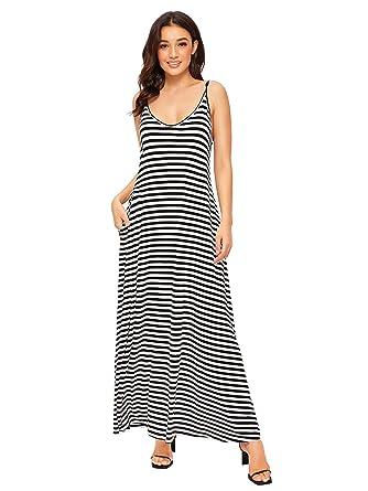684b90e0592c6b Verdusa Women's Casual Spaghetti Strap Flowy Long Beach Maxi Dress Black  and White XS