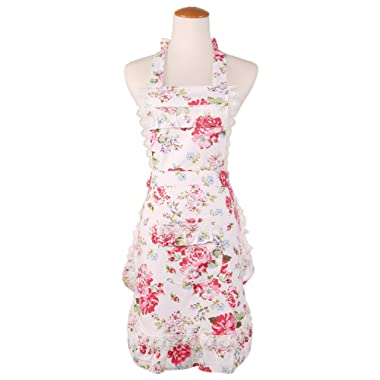 Women's Cotton Floral Apron with Pockets, Adjustable Long Ties for Kitchen Cooking, Baking and Gardening, 28x22 inch