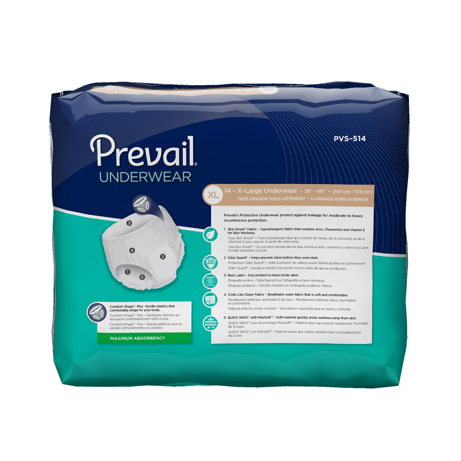 aee5c9456a35d9 Amazon.com: Prevail Maximum Absorbency Incontinence Underwear, X-Large,  14-Count: Health & Personal Care