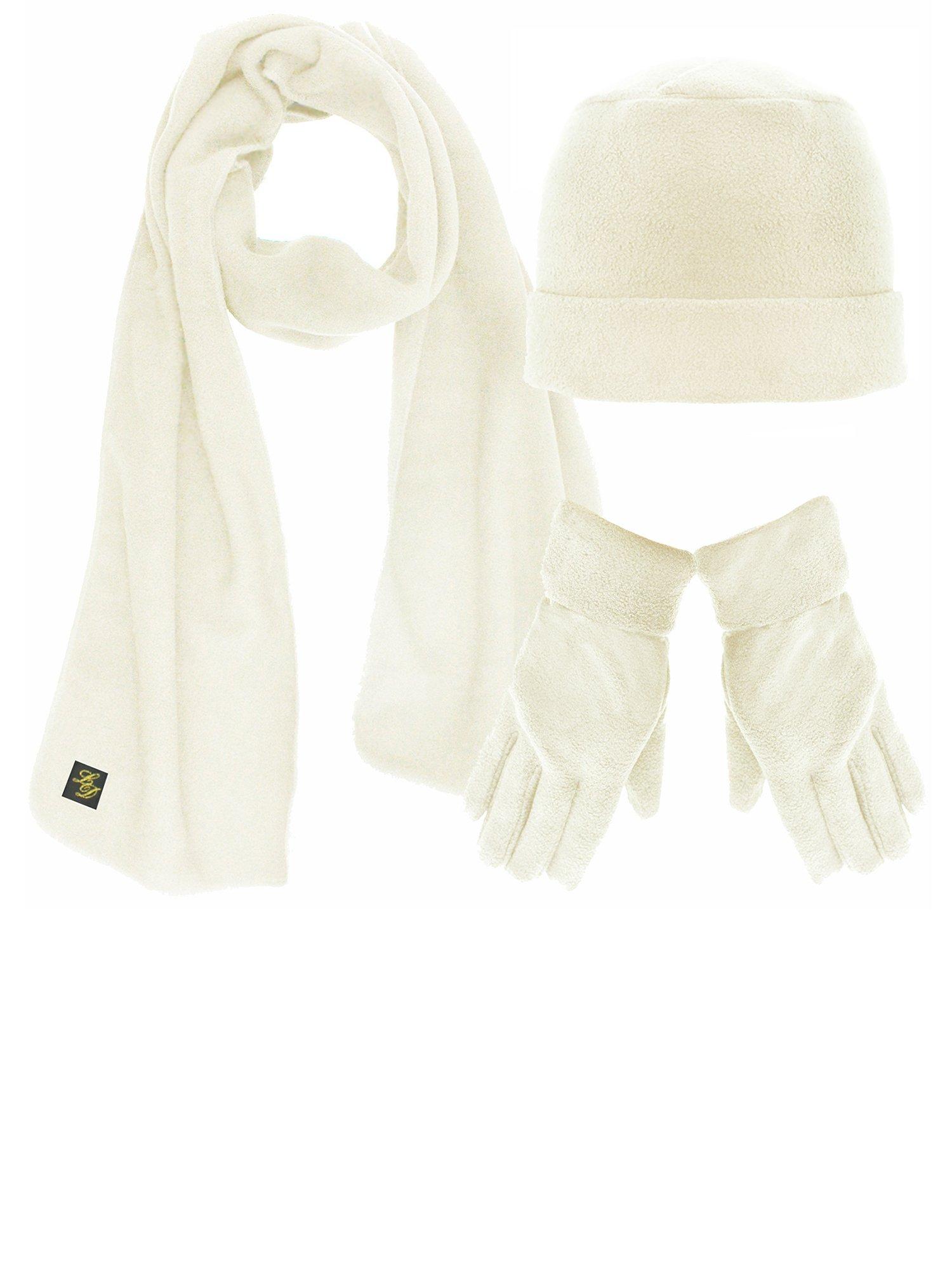 Ivory White 3 Piece Fleece Hat Scarf & Glove Matching Set