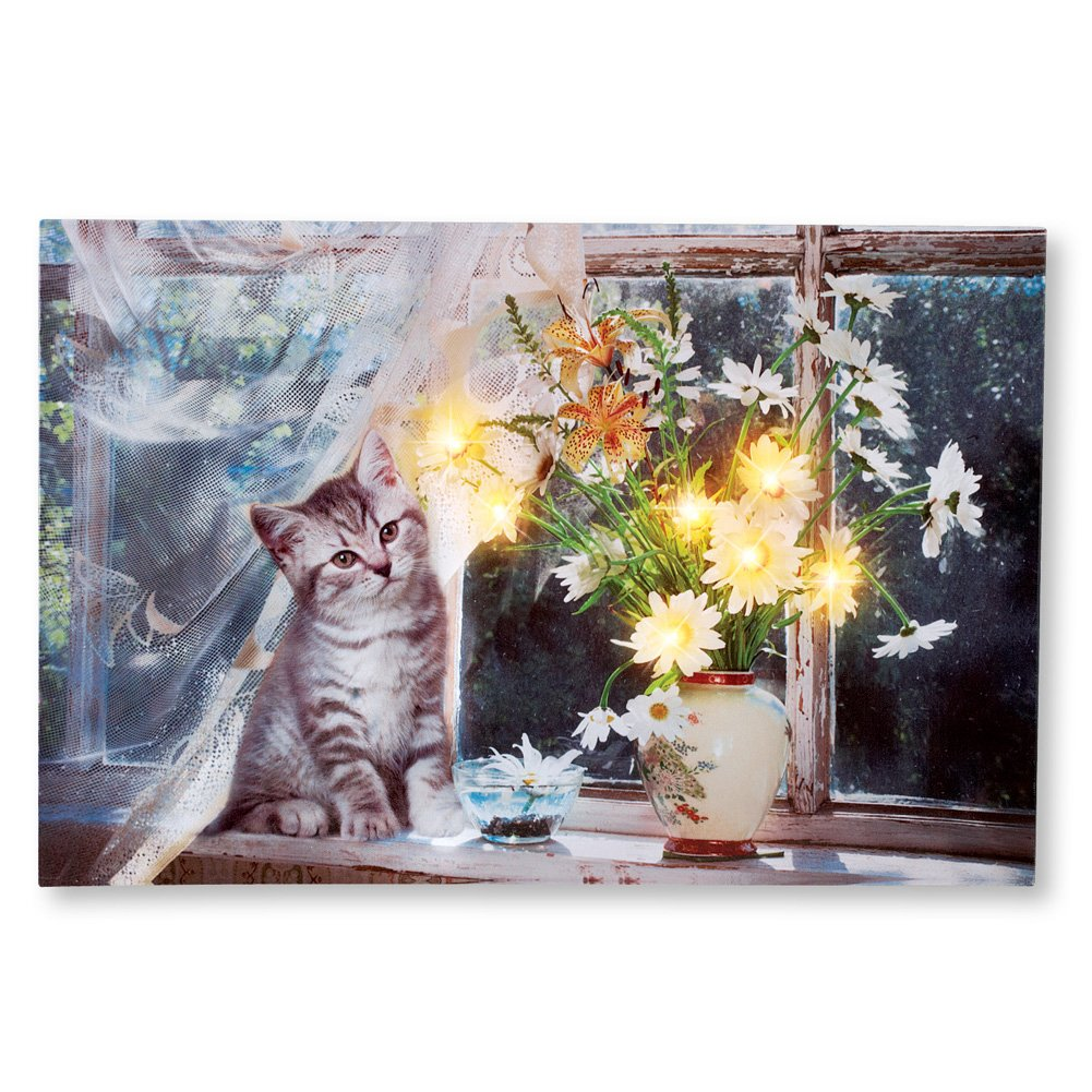 Collections Etc Cat on Windowsill LED Lighted Canvas Wall Art