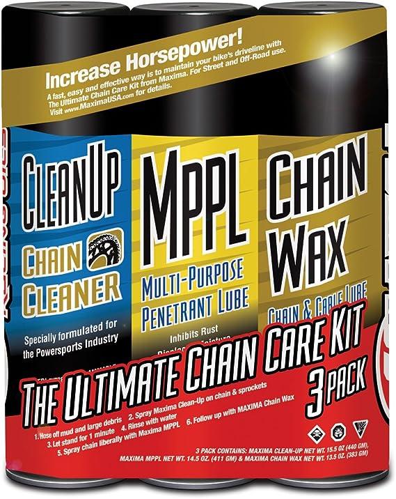 Maxima 70-749203-3PK Chain Wax Ultimate Chain Care Aerosol Combo Kit