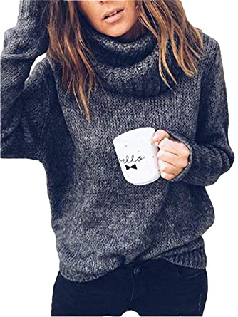 99a0bd28303aa Salamola Women's Turtleneck Loose Cozy Solid Color Lapel Knitted Pullover  Sweaters Black