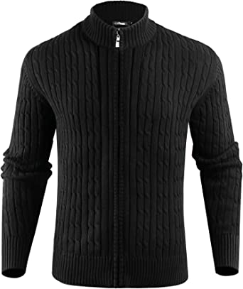 Rrive Mens Fashion Zipper Knitted Stand Collar Jumper Pullover Sweater