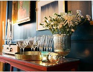 Luna Bazaar Large Mercury Glass Hurricane Pillar Candle Holder (6.75x9-in, Lynne Design, Silver) - Elegant Flower Vase Centerpiece Decor for Home Weddings Parties Events, Ideal Housewarming Gift