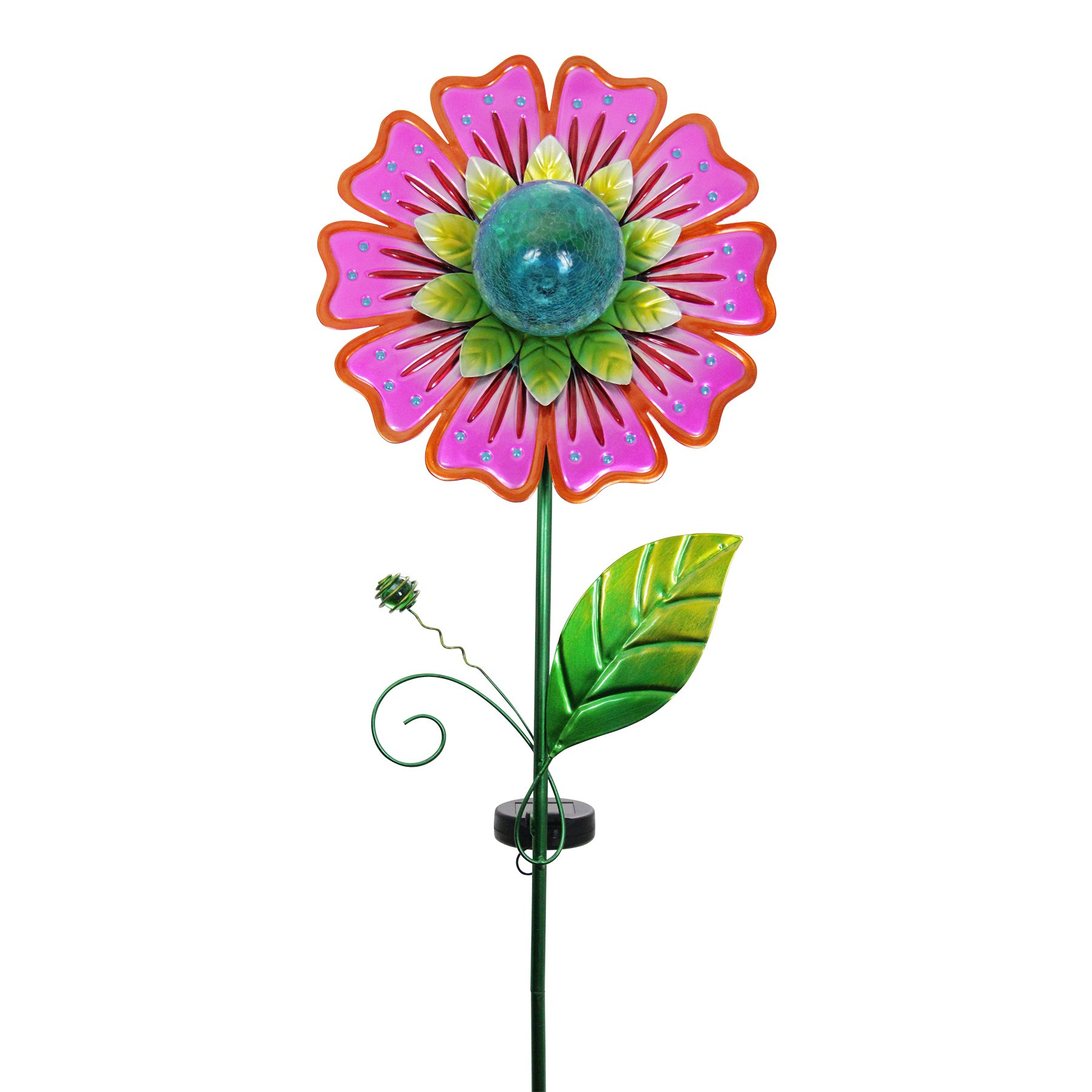 Exhart Metallic Flower Garden Stake, Solar Powered, Red, 12'' L x 5'' W x 47'' H