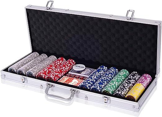 COSTWAY 300 Piezas Fichas de Póker Set de 7 Colores con Caja de ...
