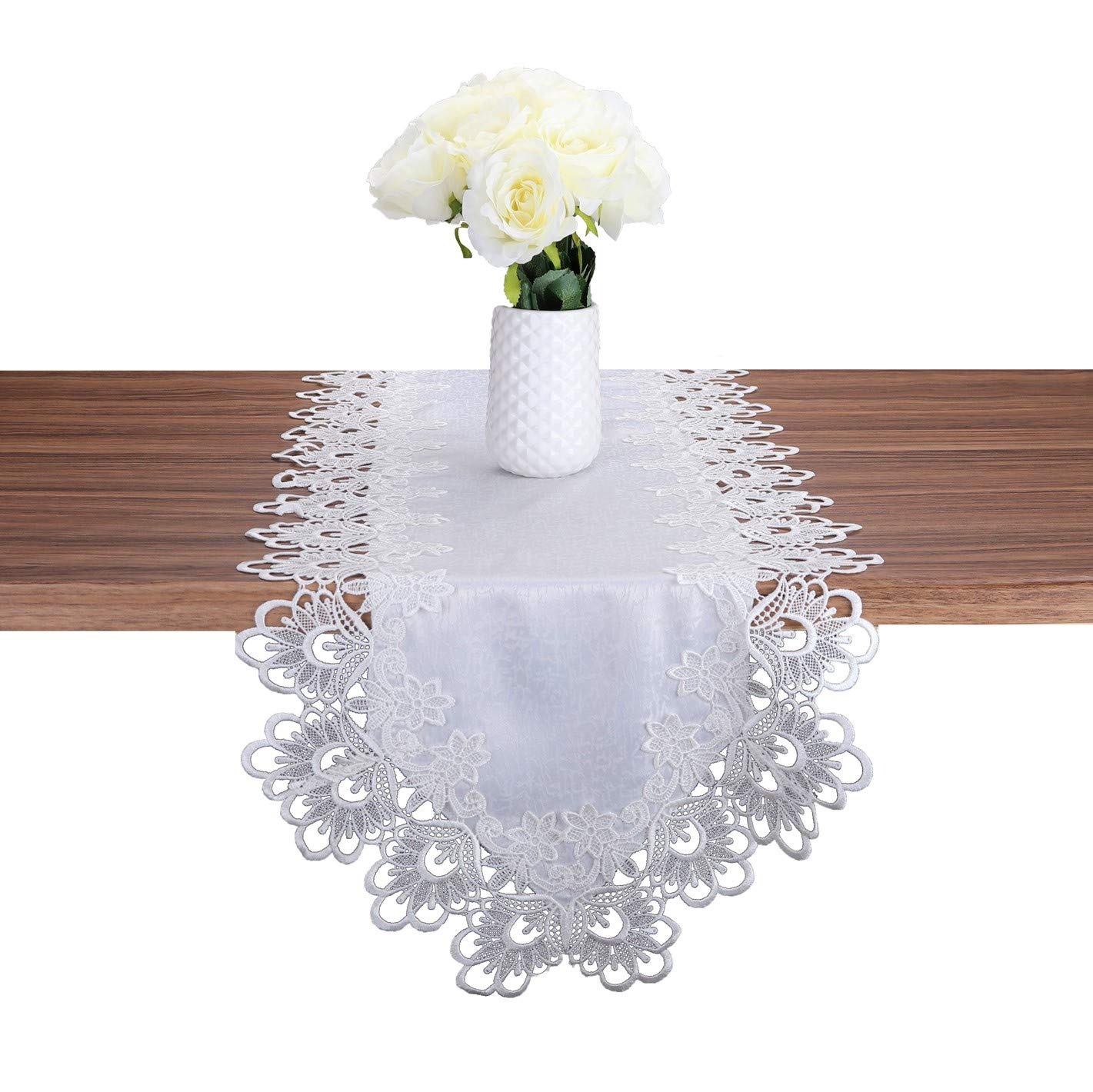 (16x87 inch (40x220cm), White) - TaiXiuHome White European Style Minimalist Floral Embroidery Lace Table Runner Hollow Top Decoration Rectangle approx 16x87 inch (40x220cm) 16x87 inch (40x220cm) ホワイト B01MTYO0Y2