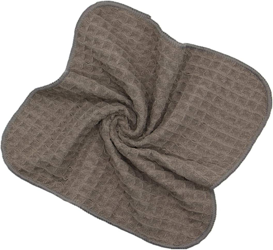 VeraSong Microfiber Kitchen Cleaning Cloth Thick Dish Rags Waffle Weave Washcloths Dish Cloths Ultra Absorbent Odor Free 12inch X 12inch 6 Pack Beige