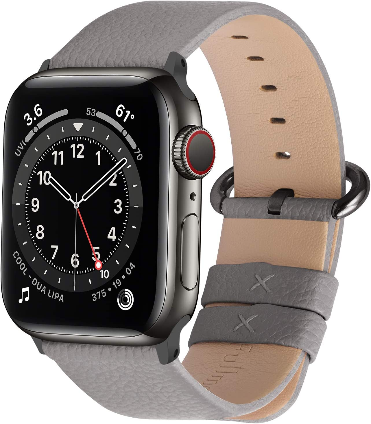 Fullmosa Compatible Apple Watch Band 38mm 40mm 42mm 44mm Leather Compatible iWatch Band/Strap Compatible Apple Watch SE & Series 6 5 4 3 2 1, 38mm 40mm Grey + Smoky Grey Buckle