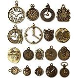 HUIHUI 18 Pcs/set Clock Pendant Charms, Mixed Antique Bronze Charms Steampunk Clock Pendant DIY Jewelry Making Accessories
