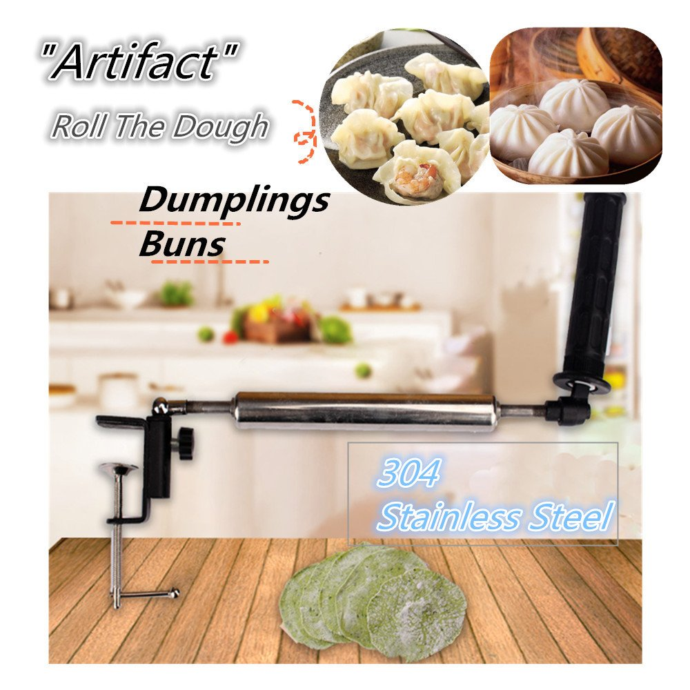 FashionMall Adjustable Non-Stick Stainless Steel Rolling Pin Dumpling Skin Maker Dough Roller for Cooking Baking