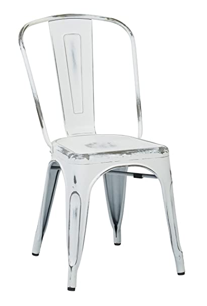 Office Star Bristow Metal Seat And Back Armless Chair, Antique White, 2 Pack