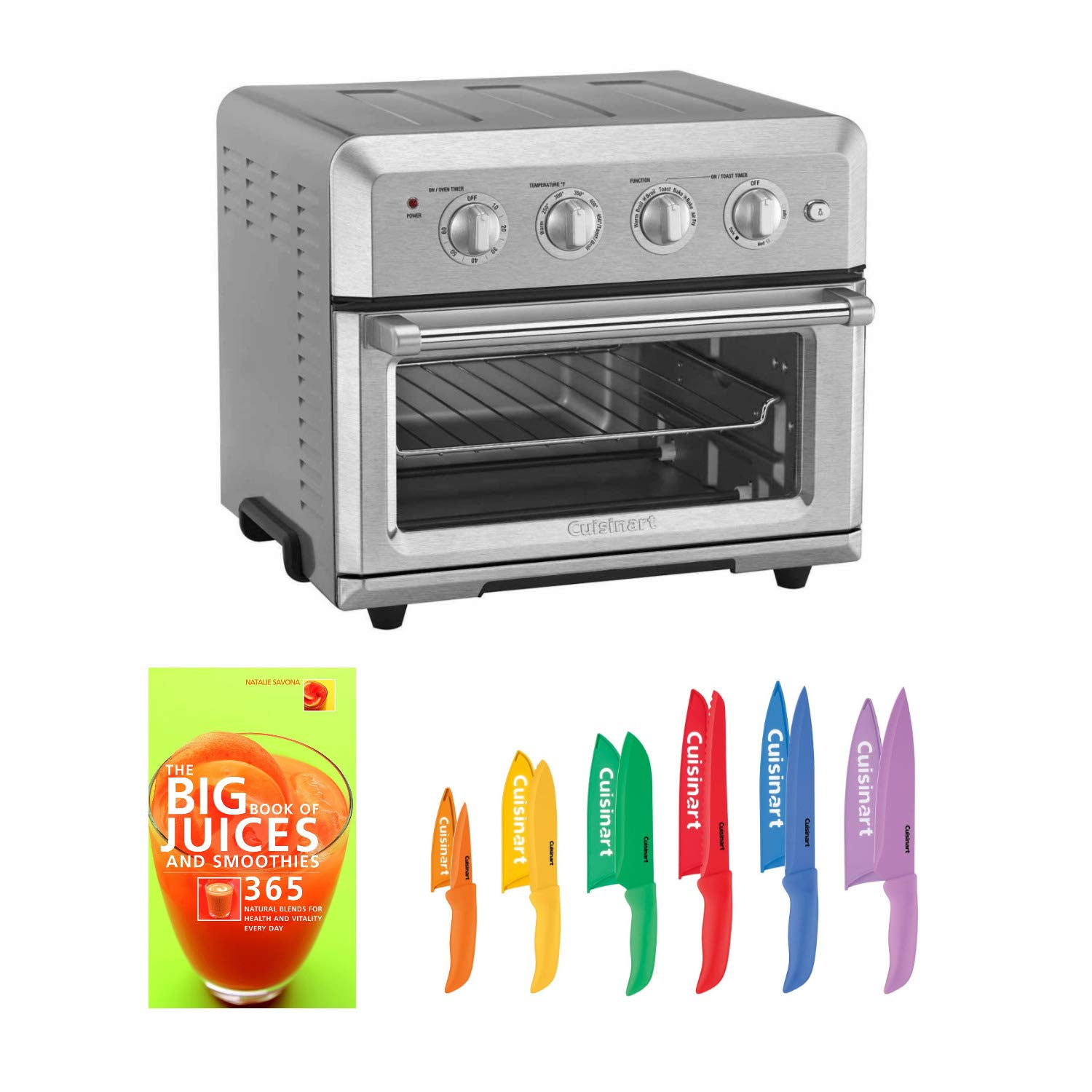 Cuisinart Air Fryer Toaster Oven, Silver (Renewed) with cookbook and 12 Piece Knife Set (Renewed) (3 Items)