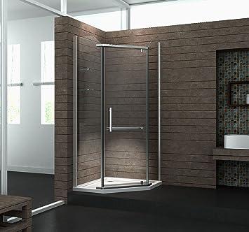 Fünfeck-Duschkabine PENTAGONO 90 x 90 x 195 cm ohne Duschtasse ...