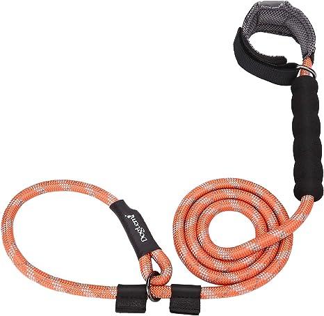 HAPPY HACHI Correa de Entrenamiento y Collar para Perros Longitud 140 cm Cuerda Adiestramiento Reflectante Nylon con Mango Acolchado