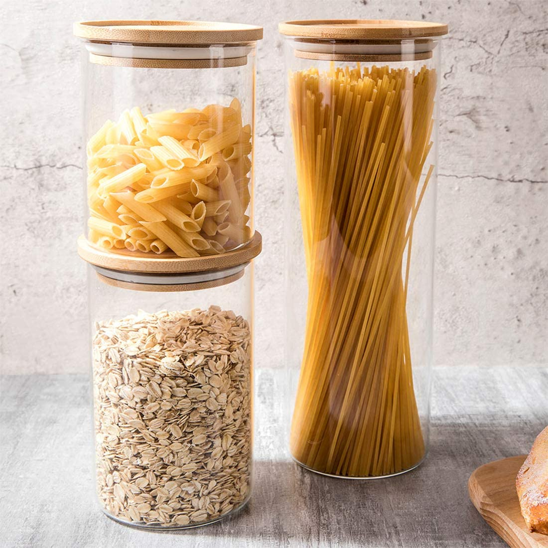 Glass Food Jars Set of 3 Stackable Glass Container With Sealed Bamboo Lid for Kitchen and Pantry Organization Ideal for Flour, Cookie, Coffee, Candy, Snack and More(18.6oz 28.7oz 54oz)