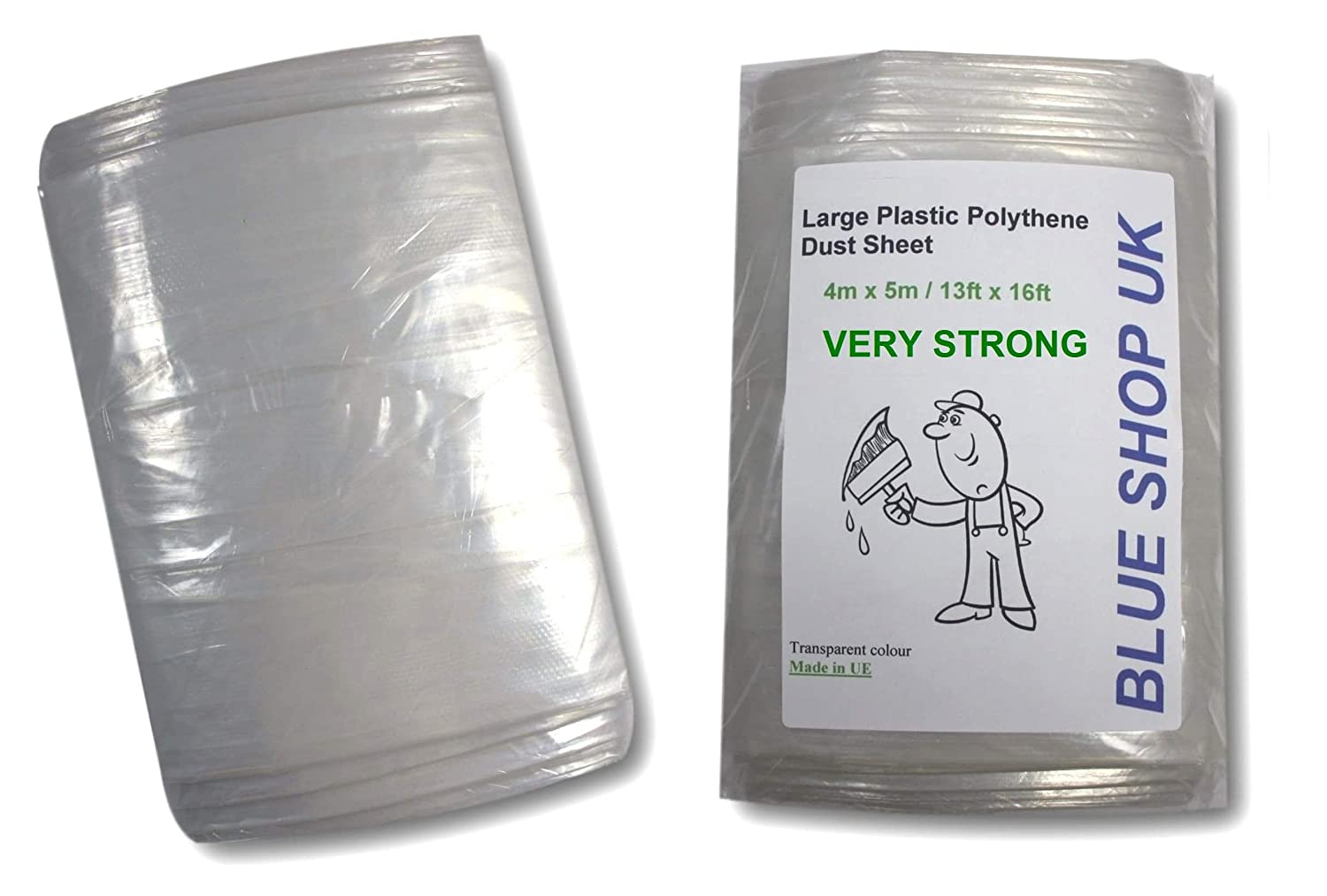 2 x 600g Weight 2 x 0.6kg Very Strong 4m x 5m Heavy Duty Large Plastic Polythene Dust Sheet 13ft x 16ft Painting Masking (Floor Windows) *ODORLESS (2 x 600g Very Strong Large Polythene Dust Sheet) Blue Shop UK