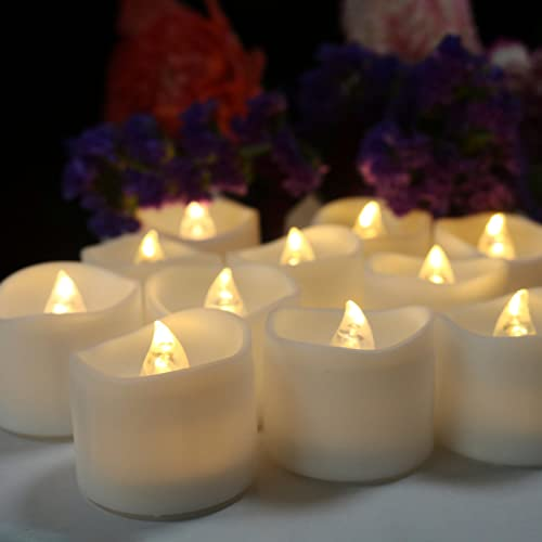 Frestree Flameless LED Tealight Candles, Flashing Realistic Candles, Seasonal Festival Celebration Like Christmas, Pack of 24, Fake Tea Lights in Warm White.