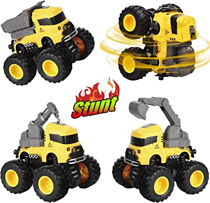 Construction Vehicles with Play Mat and Excavator Pull Back Cars Toys with Road Signs Dump Truck Construction Toys Birthday Gifts for Boys Girls Toddlers 3 4 5 6 Years