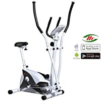 AsVIVA C16 2in1 Elliptical Crosstrainer and Exercise Bike with 15 kg Flywheel Mass, Fitness Bike with 8 Manually Adjustable Resistance Level and Belt Drive – Incl. Bluetooth App Control and Built-in Pulse Receiver