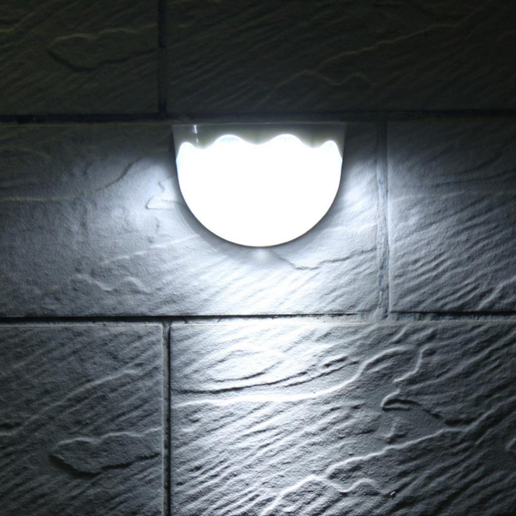 LiPing Outdoor Decorative Lights-Solar Power Light Sensor 6 LED Wall Light Outdoor Garden Fence Waterproof Lamp (White)